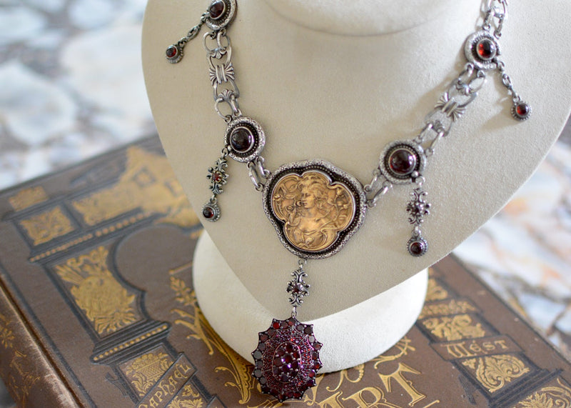 Victorian Garnet Locket Necklace