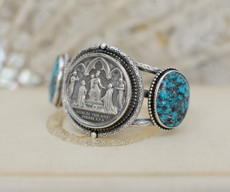 French Wedding Medal and Turquoise Cuff Bracelet