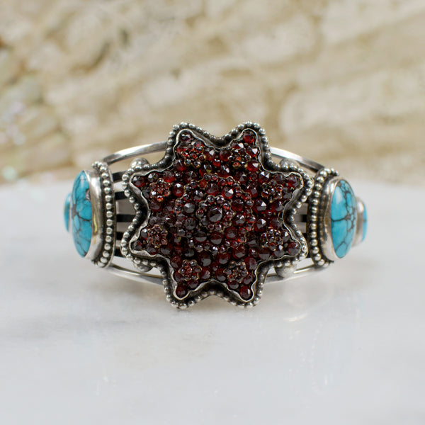 Eight Point Victorian Garnet Star With Turquoise Cuff Bracelet
