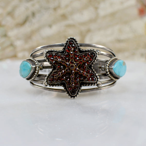 Six Point Garnet Star Cuff Bracelet With Turquoise