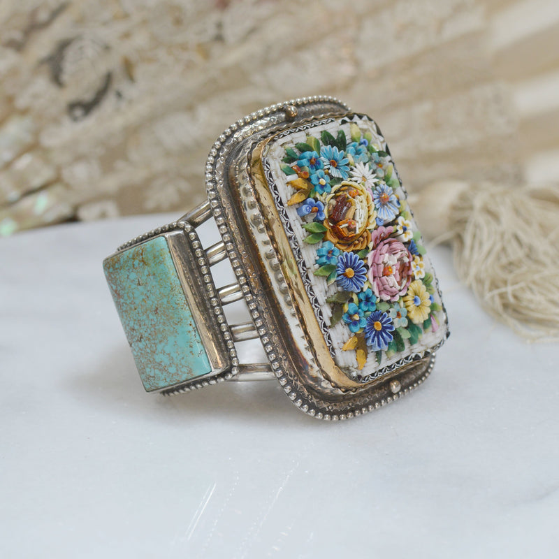 Antique Venetian Grand Tour Micro Mosaic Cuff with Turquoise