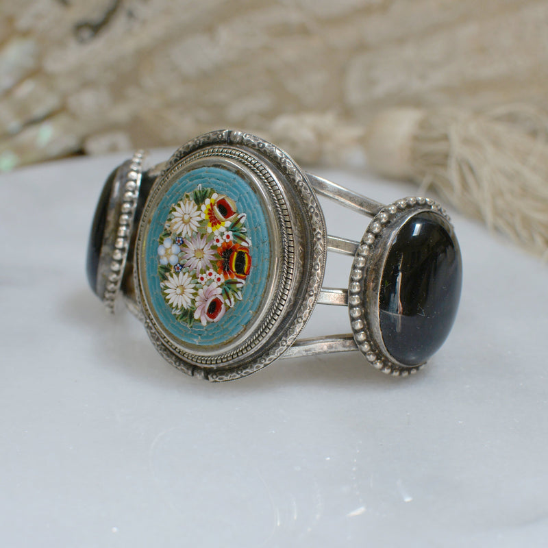 Antique Venetian Tesserae Micro Mosaic Floral with Onyx Cuff Bracelet