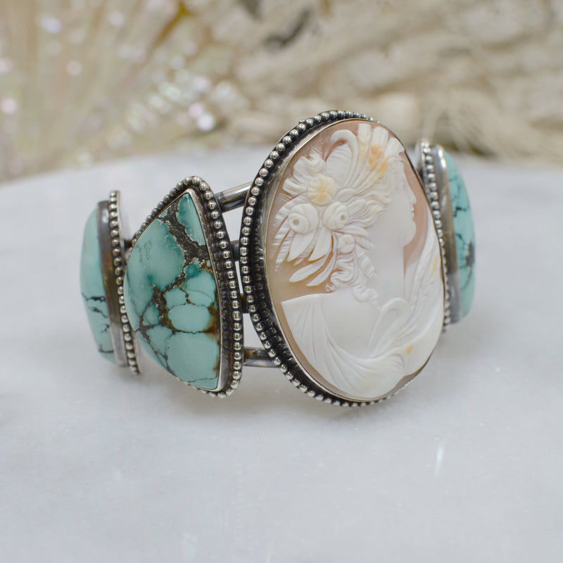 19 th. C. Venetian Cameo Cuff with the Goddess Leda and Turquoise