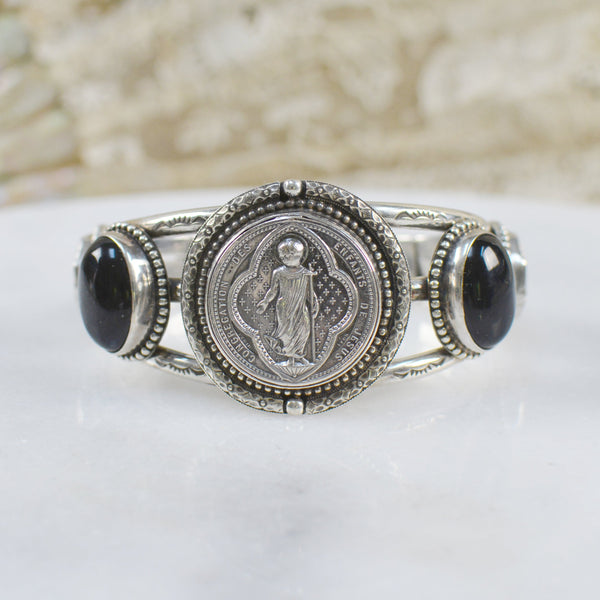 Antique French Sacred Heart with Christ Medallion Cuff with Onyx