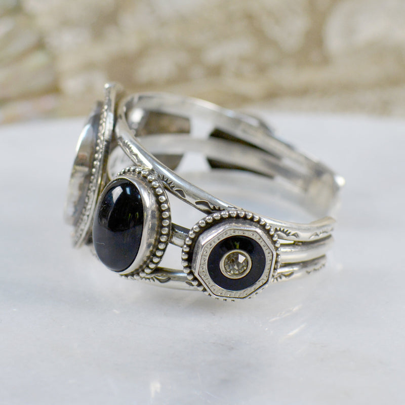 French Sacred Heart Cuff Bracelet with Black Onyx
