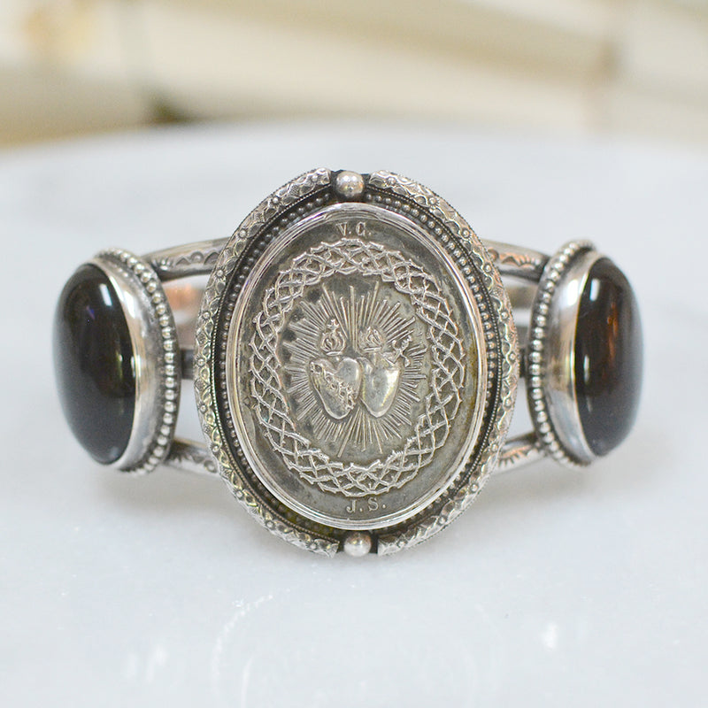 19 th. C. French Sacred Heart Medallion Cuff with Onyx Cuff Bracelet