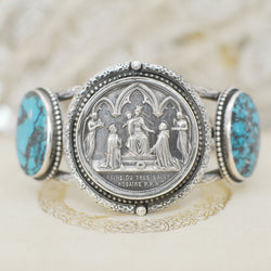 19 th. Century French Wedding Medal and Turquoise Cuff Bracelet
