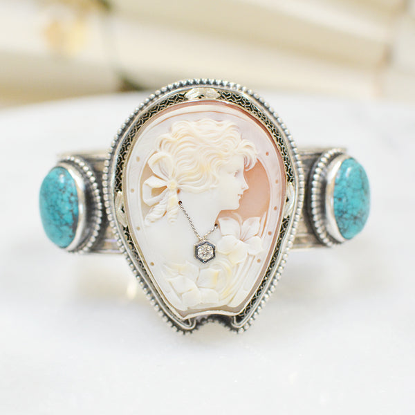 "19 th. C. Venetian ""Good Luck"" Goddess Cameo with Diamond Cuff Bracelet"