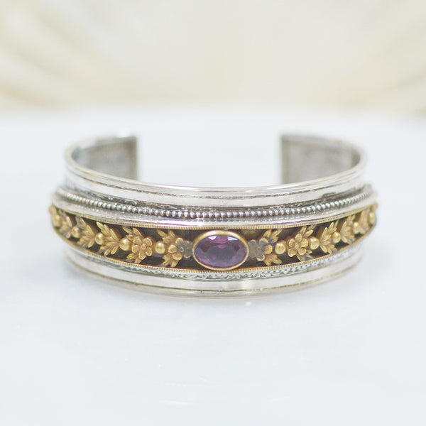 Gilded Art Nouveau Garland with Rosecut Amethyst Cuff