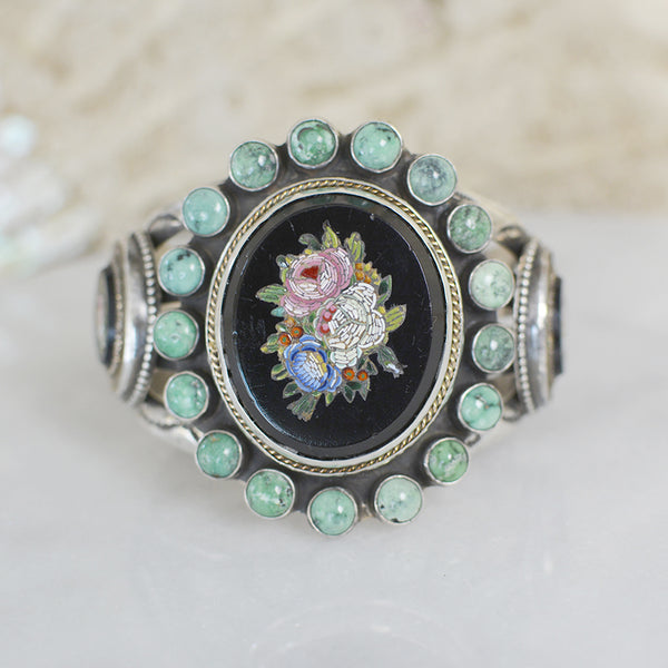 19 th. C Venetian Tesserae Grand Tour Micro Mosaic Cuff with Turquoise
