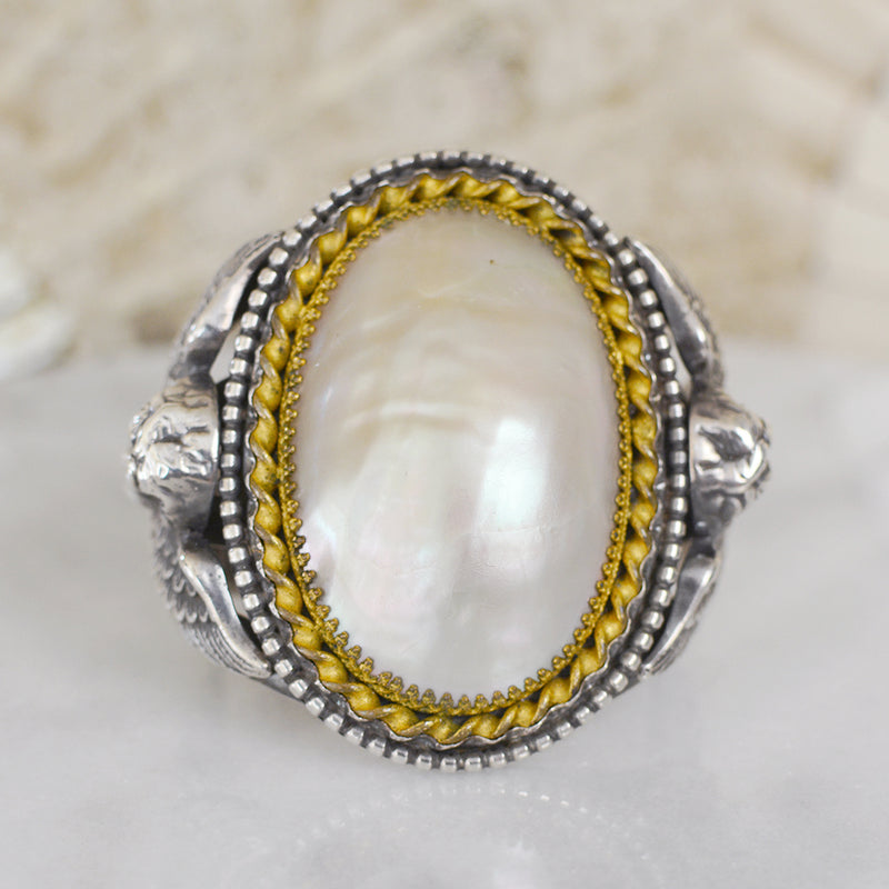 Antique Victorian Natural Mother-of-Pearl Cuff Bracelet with Angels