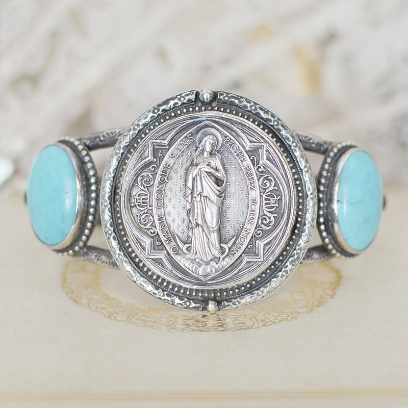 Sacred Heart Medal with Turquoise Cuff Bracelet