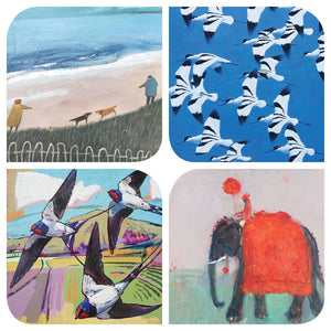 Assortment of animal and bird art cards