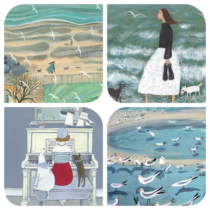 Assortment of people and coastal  art cards