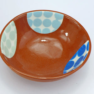 Small bowl blue and green spots