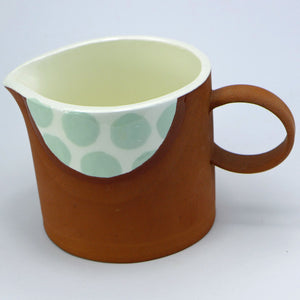 SALE Small jug pale green spots
