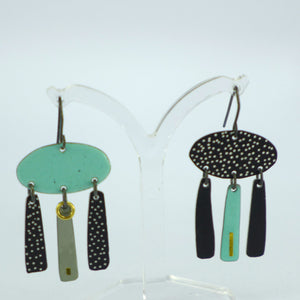 3 drop turquoise and black earrings CA11