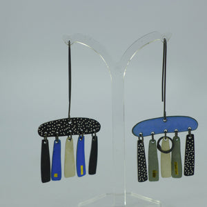 5 drop blue and black statement earrings CA12