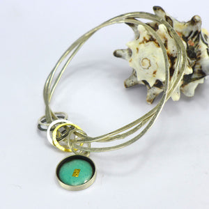 Triple silver bangle with turqoise enamel CA1