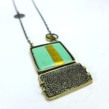 Load image into Gallery viewer, Turquoise and Black Enamel pendant  CA9