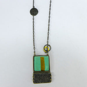 Turquoise and Black Enamel pendant  CA9