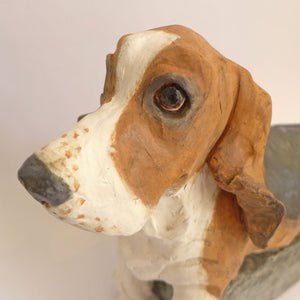 Ceramic basset on a box