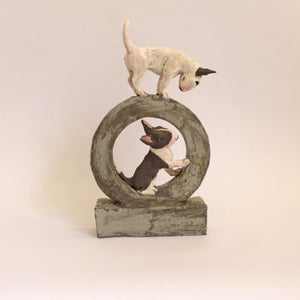 Ceramic bull terriers on a hoop