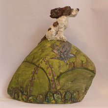 Load image into Gallery viewer, Ceramic spaniel on a hill