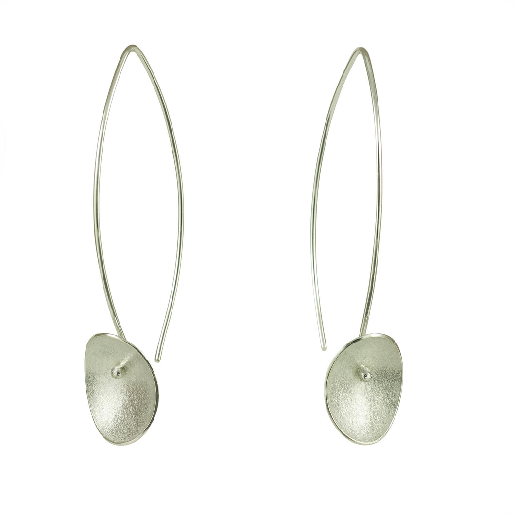 GCE11 Silver seed long drop earrings