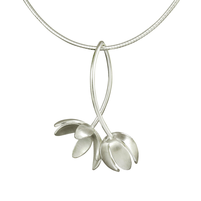 GCP7 Silver flower and bud pendant