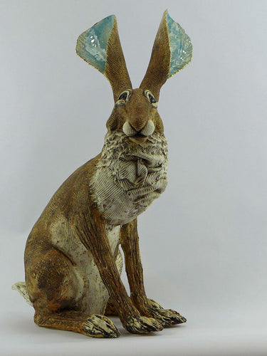 Extra large sitting hare with gold lustre