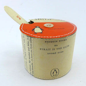Penguin books hand stitched sugar bowl with spoon