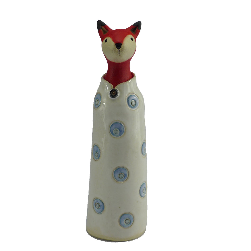 Ceramic fox in a coat with blue spots