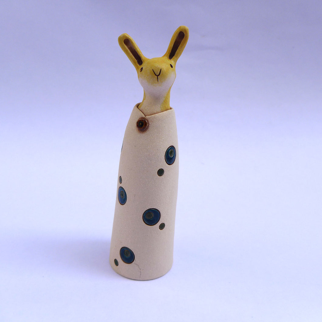 Ceramic hare in a coat with teal double spots