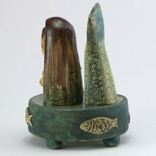 Load image into Gallery viewer, Ceramic mermaid on a stand