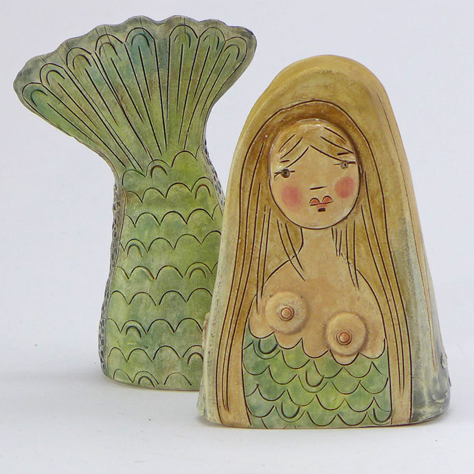 Ceramic mermaid with her tail - blonde