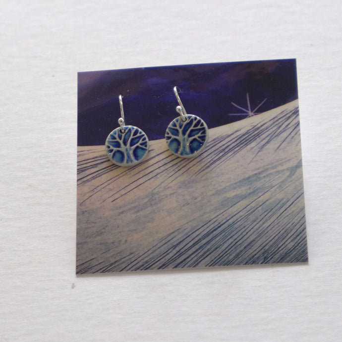 Ceramic tree drop earrings blue