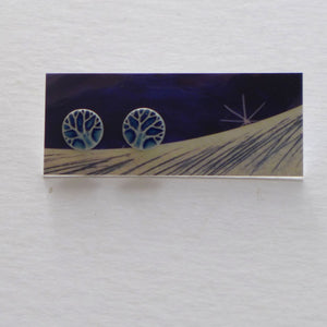 Ceramic tree stud earrings blue