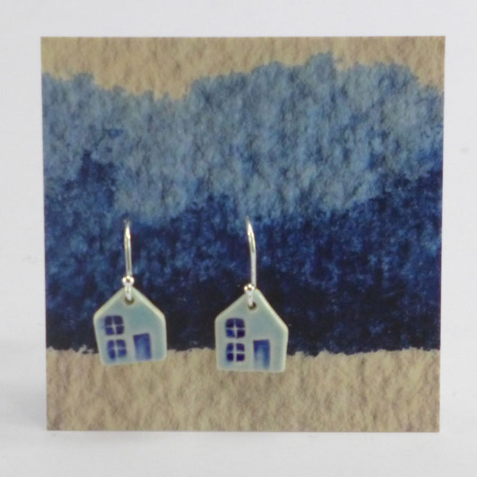 Ceramic house earrings blue