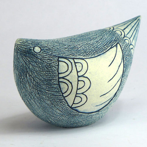 Ceramic large bird matt blue