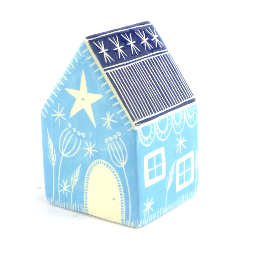 Medium ceramic house turquoise