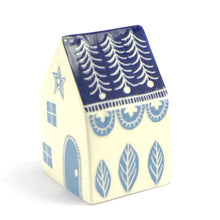 Load image into Gallery viewer, Medium ceramic house navy roof & mid blue door