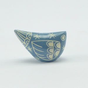 Ceramic small bird mid blue