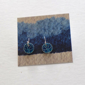 Ceramic tree drop earrings teal