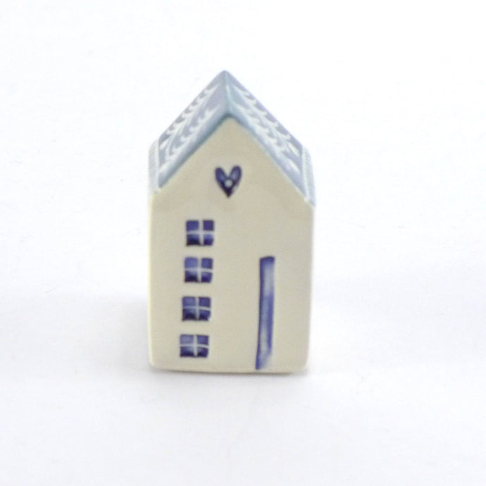 Tiny ceramic house mid blue heart