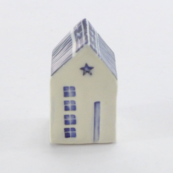 Tiny ceramic house navy star