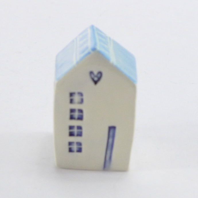 Tiny ceramic house turquoise heart