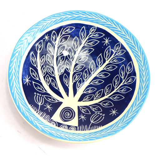 Ceramic tree bowl dark blue