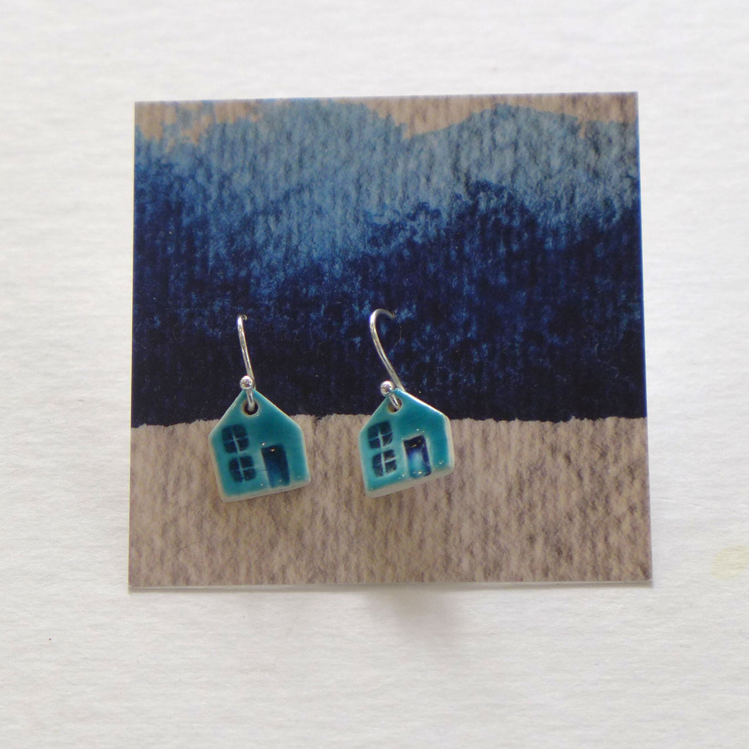 Ceramic house earrings turquoise