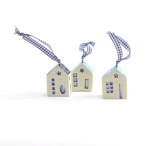 Ceramic hanging solid house with gingham ribbon